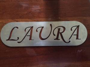 Stainless steel plaque cut with the waterjet